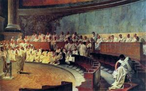 Çiçero Catiline'ye karşı konuşmasını / savunmasını yaparken. (Maccari)
